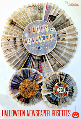 Halloween Newspaper Rosettes and 5 Must-Try Crafts for Halloween | #halloween #crafts #diy #holiday